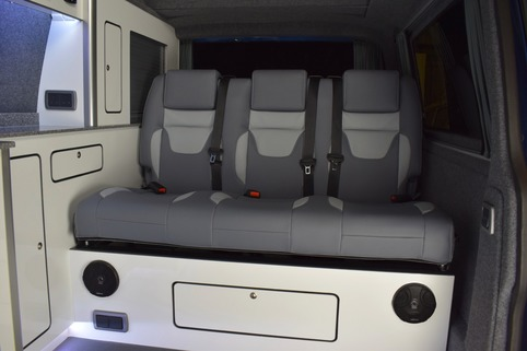3 seater RIB rock n roll bed upholstered with a nod to the Sportline SE